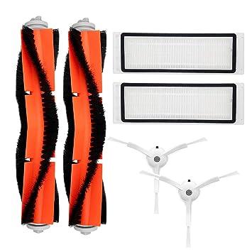 Kit de accesorios para XIAOMI MI Robot piezas de repuesto al vacío 2 piezas Principal 2 piezas cepillo cepillo lateral 2 piezas Filtro HEPA: Amazon.es: ...