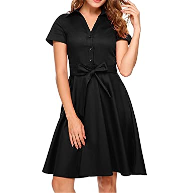 Zcaosma Women Vinatge Style Dress Turn Down Collar Short Sleeve Swing with Belt Femme Robe Spring Summer Feminino Vestidos at Amazon Womens Clothing store: