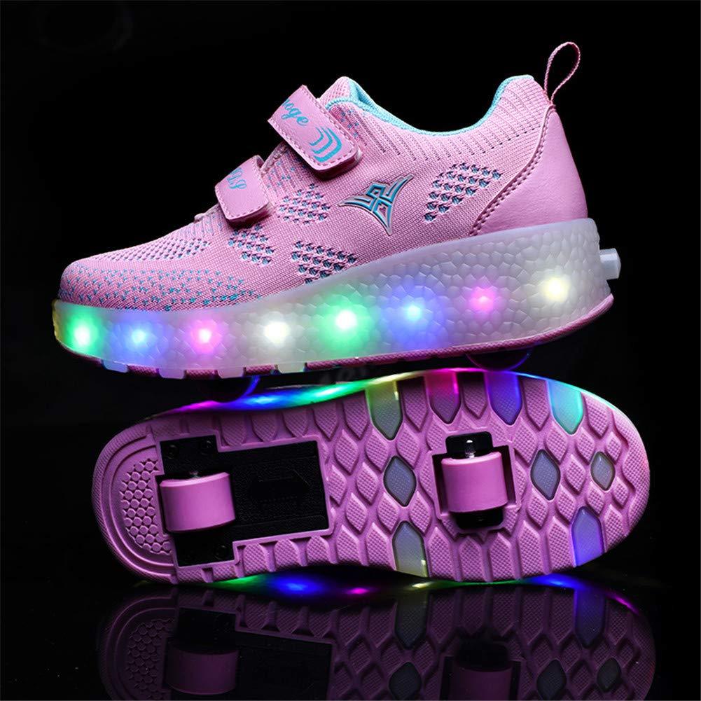 Unisex Bambini Moda Skateboard Scarpe Singola Doppia Rotelle LED Lampeggiante Sneaker Allaperto Sportive Pattino A Rotelle Scarpe con Regolabili Rotelle