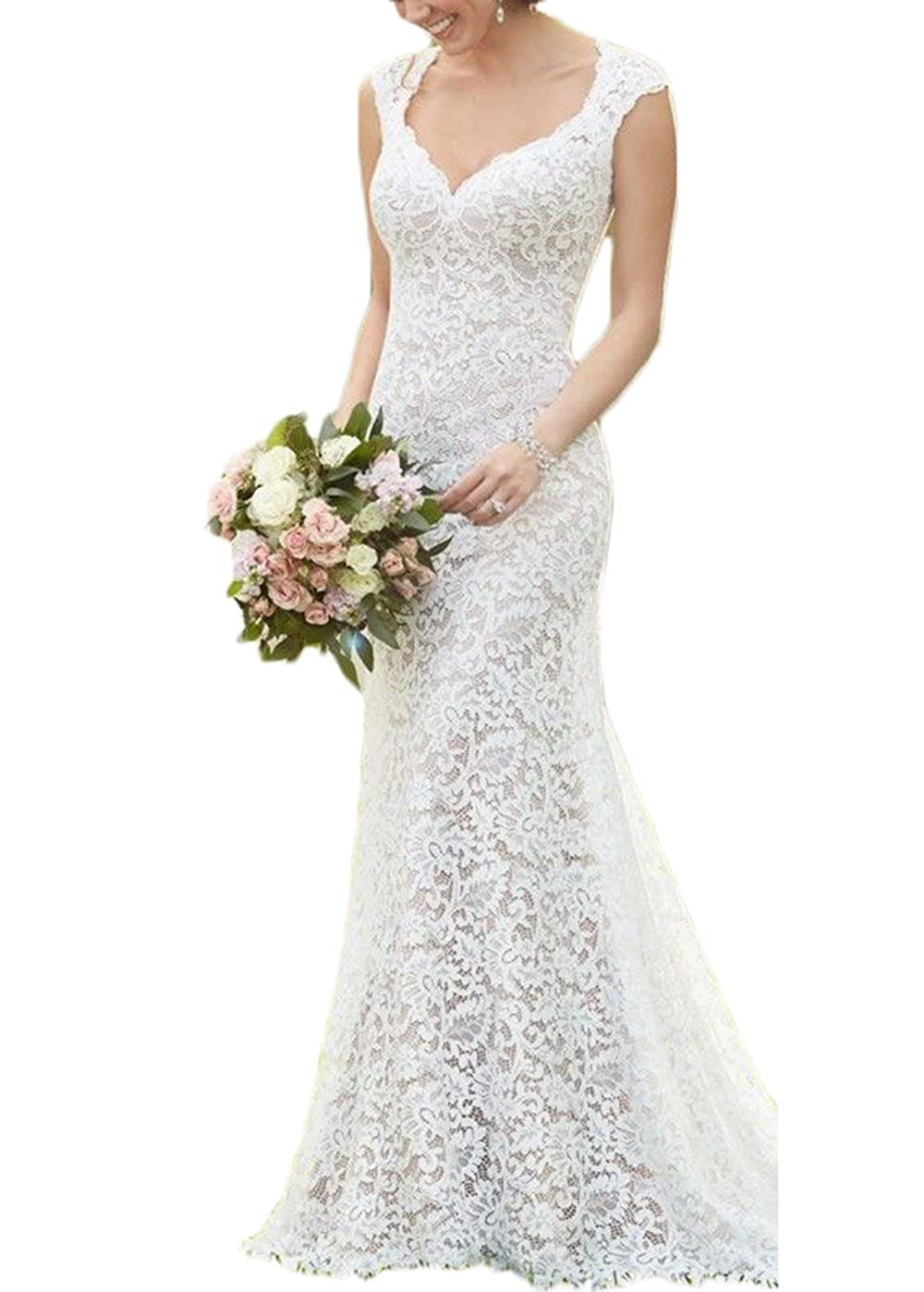 Ivory alilith.Z Sexy Sweetheart Lace Wedding Dresses Bride Open Back Cap Sleeves Mermaid Long Bridal Gowns