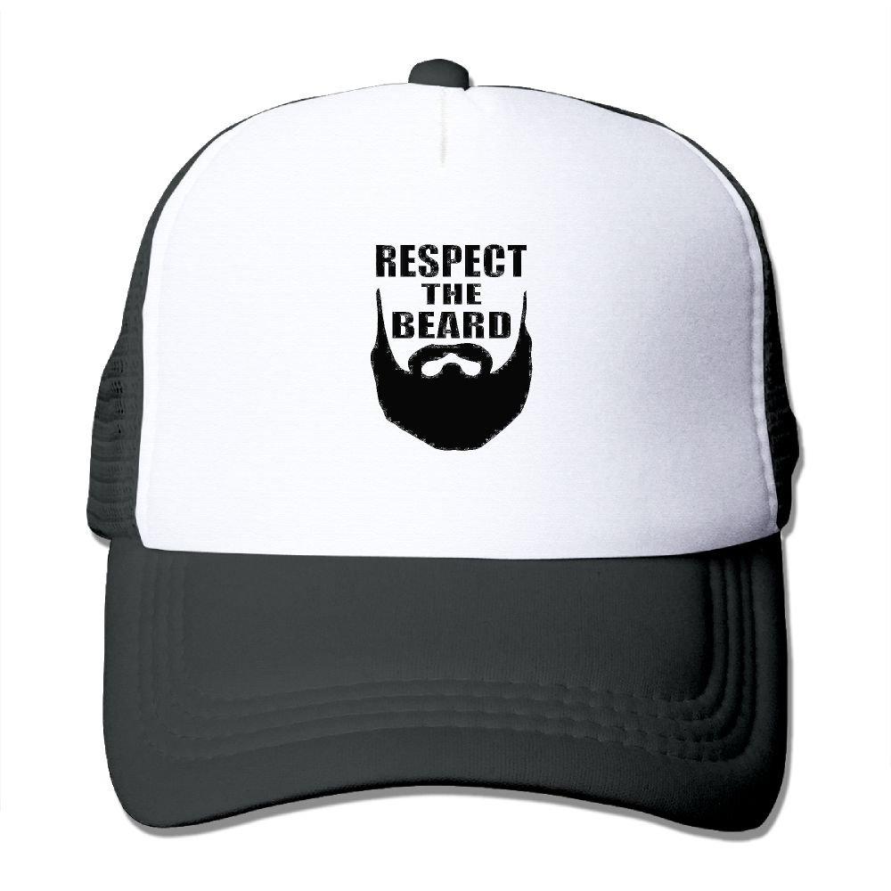1043e6f9dd2 Amazon.com: QIYYQI Respect The Beard Unisex Printing Mesh Hat Cap  Adjustable Snapback Classic Trucker Hat Black: Clothing