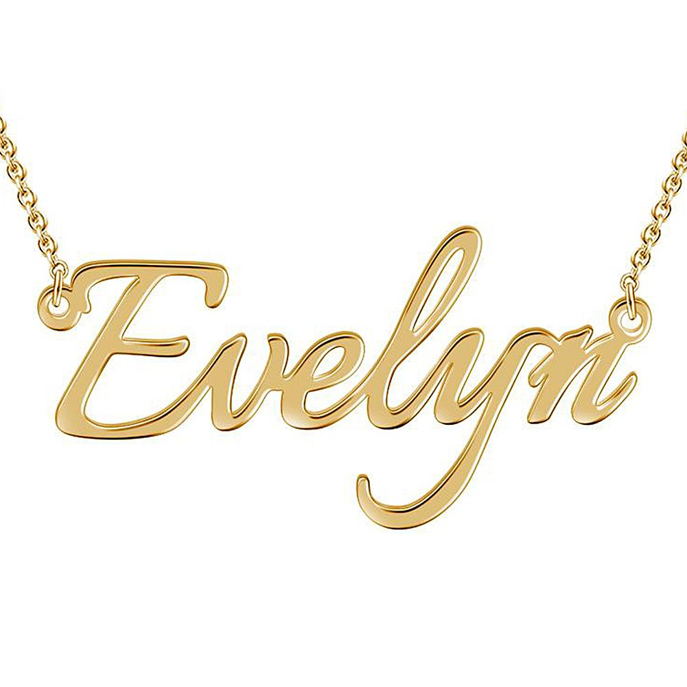 SOUFEEL Custom Name Necklace Evelyn Style Personalized Nameplate Gold Plated 925 Sterling Silver Necklace
