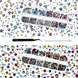TecUnite 4000 Pieces Glass Flatback Gemstones Round Flat Back Rhinestones 6 Sizes 1.5 mm-6 mm in Box with Tweezer and Rhinestones Picking Pen for Nail Face Art (Multicolor AB and Multicolor)