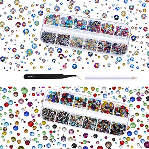 TecUnite 4000 Pieces Glass Flatback Gemstones Round Flat Back Rhinestones 6 Sizes 1.5 mm-6 mm in Box with Tweezer and Rhinestones Picking Pen for Nail Face Art (Multicolor AB and ()