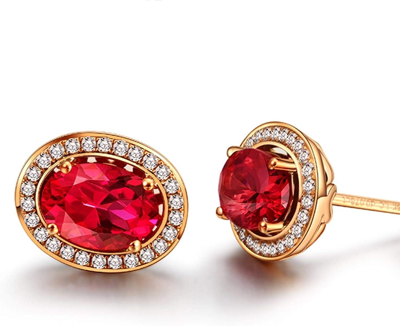 ANAZOZ 18K Oro Rosa Pendientes de Mujer Pendientes de Mujer Oval Turmalina Roja Blanca 1.3-2ct