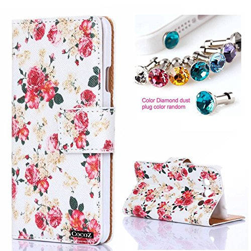 CocoZ® Samsung GALAXY Core Max G5108 Case Beautiful Rose Flowers PU Wallet Type Flip Case Cover with Credit Card Holder Slots for for Samsung GALAXY Core Max G5108 (White Rose Flowers)