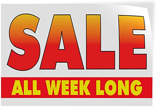Set of 2 Decal Sticker Multiple Sizes Long Weekend Sale Business Long Weekend Sale Outdoor Store Sign White 52inx34in
