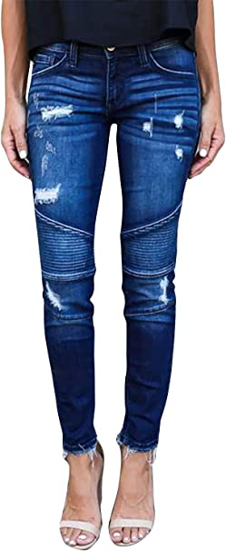 Damen Denim Jeans Destroyed Ripped Boyfriend Röhrenjeans Skinny Stretch Hosen