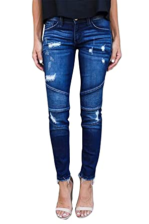 ac99e50afd70f Yidarton Femme Jeans Déchiré Push Up Skinny Slim Fit Stretch Boyfriend Denim  Jean Troué Pantalons Jeggings