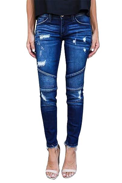 neue sorten Großhandelsverkauf hochwertiges Design Yidarton Jeans Damen Jeanshosen Röhrenjeans Skinny Slim Fit Stretch  Stylische Boyfriend Jeans Zerrissene Destroyed Jeans Hose mit Löchern Lässig