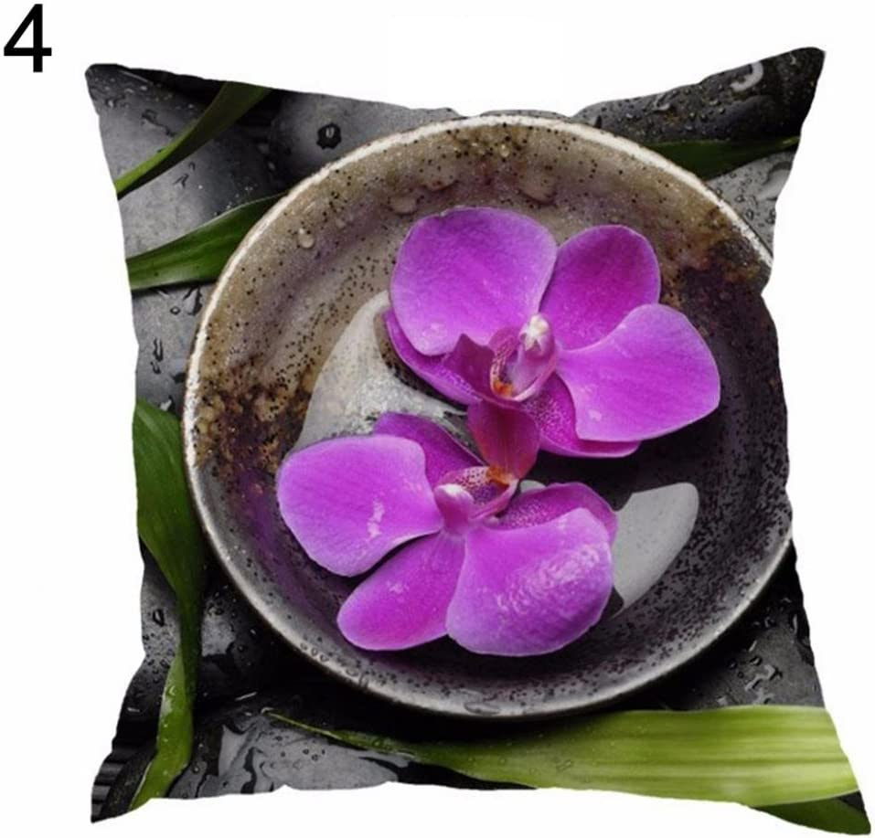Greenlans Home Housse de Coussin d/écoratif orchid/ées Pierre Imprim/é Couvre-lit Vintage Forme carr/ée Taie doreiller Coque 2 Taille Unique Polyester