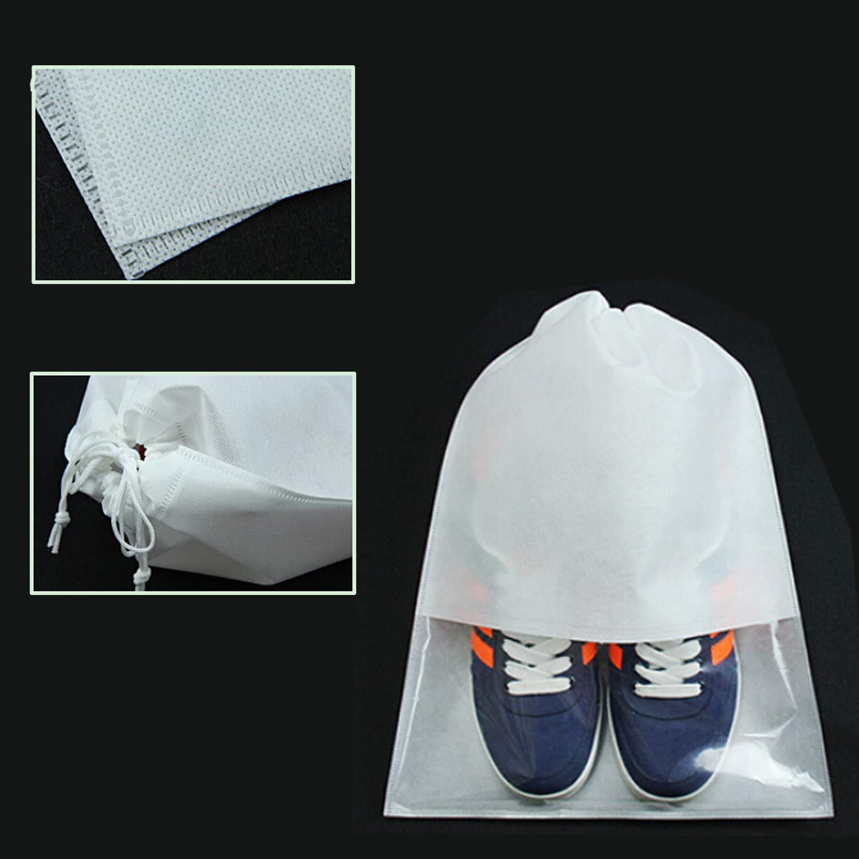 lot de 12 pochettes de rangement non tiss/ées r/ésistant /à la poussi/ère avec fen/être transparente et cordon de serrage pour bottes et chaussures /à talon haut blanc Bluesees Sac /à chaussures de voyage
