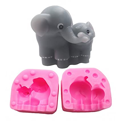 MoldFun Small Size 3D Mom and Baby Elephant Silicone Mold for Baby Shower, Soap,