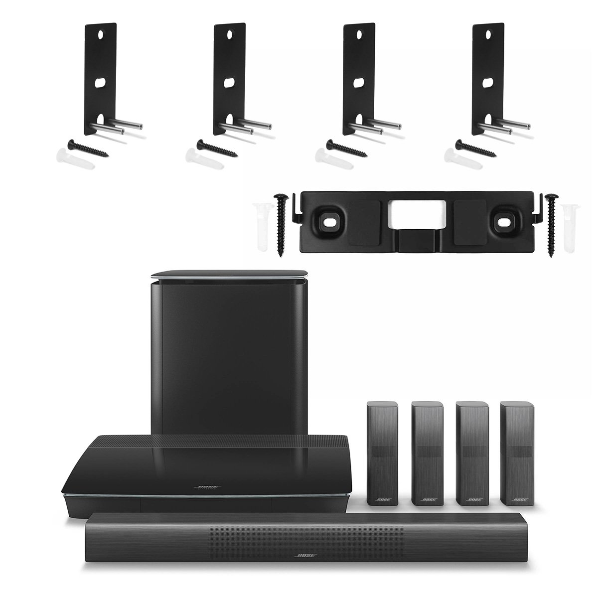 Bose Lifestyle 650 Home Entertainment System with Wall Brackets (1 OmniJewel Center Channel Bracket & 4 OmniJewel Wall Brackets) - Black by Bose