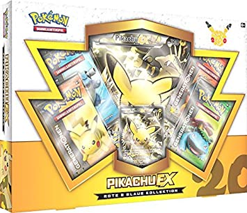 Pokemon Karten Pikachu Ex.Pokemon 25886 Pkm Rote Und Blaue Kollektion Pikachu Ex Box Deutsch