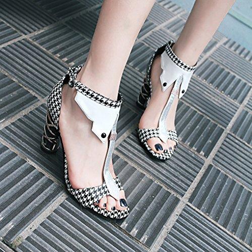Haut Chaussures Sandales Oaleen Eté Bride blanc Femme gird Cheville Salomé swallow Ouverte Bloc Talon Soirée zddqUwY