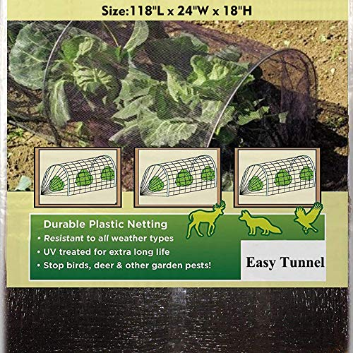 TYLife 1090-3215 Netting Grow Fleece Garden Easy Tunnel Cloche,Plant Cover for Growing Plants with Hoop, 10' Long x 18'' High by TYLife