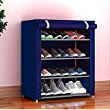 Xomox Multipurpose Portable Folding Shoes Rack 4 Tiers Multi-Purpose Shoe Storage Organizer Cabinet Tower with Iron and Nonwoven Fabric with Zippered Dustproof Cover (Navyblue)