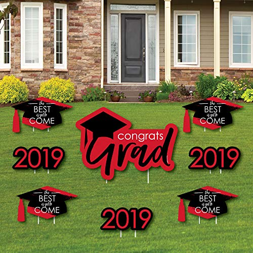 Red Grad - Best is Yet to Come - Yard Sign & Outdoor Lawn Decorations - Red 2019 Graduation Party Yard Signs - Set of 8