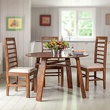 97aa8a3ef88 DriftingWood Sheesham Wood 4 Seater Round Dining Table Set for Living Room