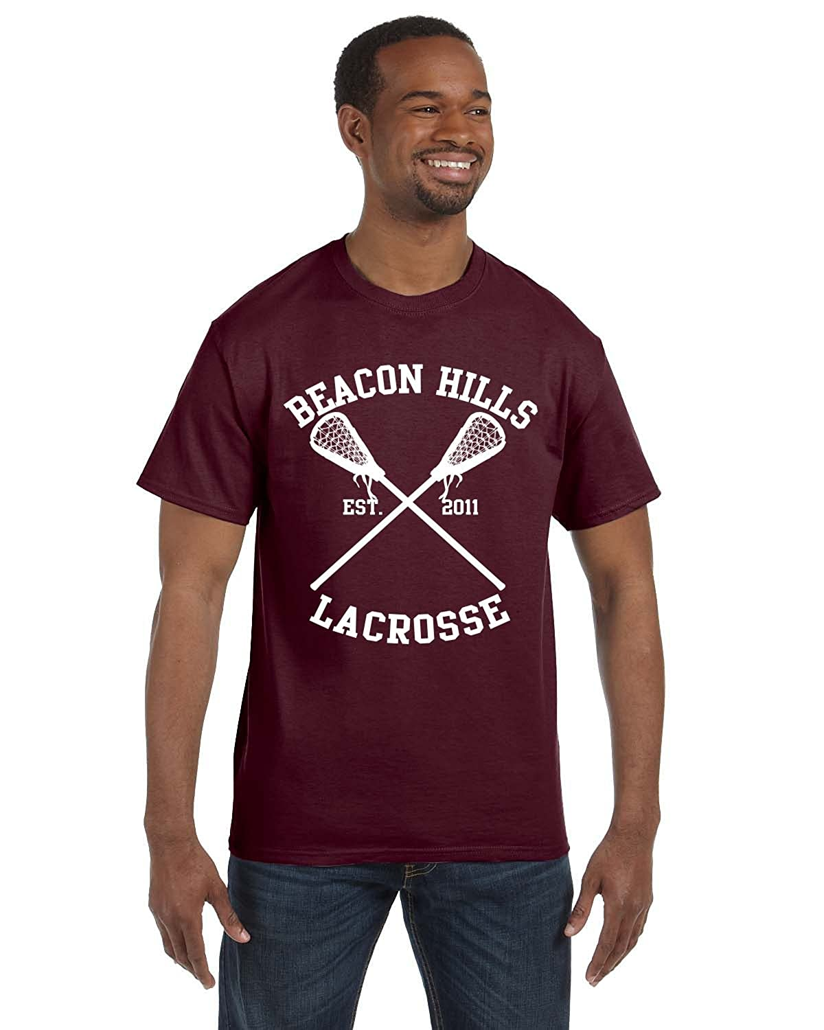 Allntrends Men's T Shirt Beacon Hills Lacrosse Player Name Number Maroon Color
