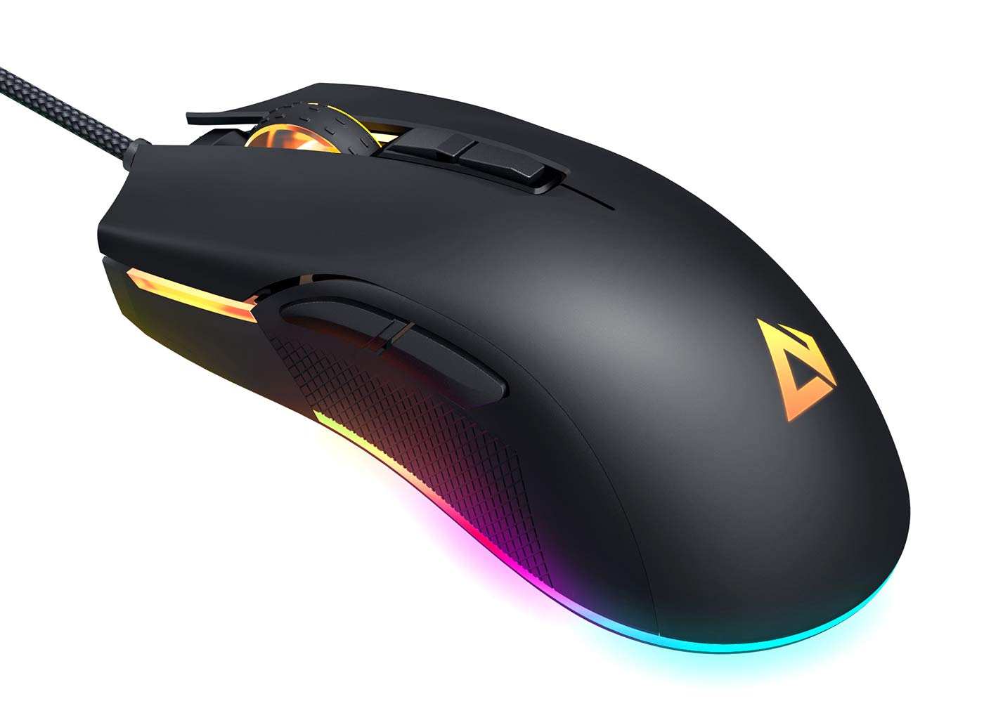 AUKEY RGB Gaming Mouse Wired with 6 Adjustable DPI Levels from 600 to 5000 3325 Optical Sensor , 16.8 Million Color, Ergonomic PC Computer Mouse with Programmable Buttons, Braided Cable, Black