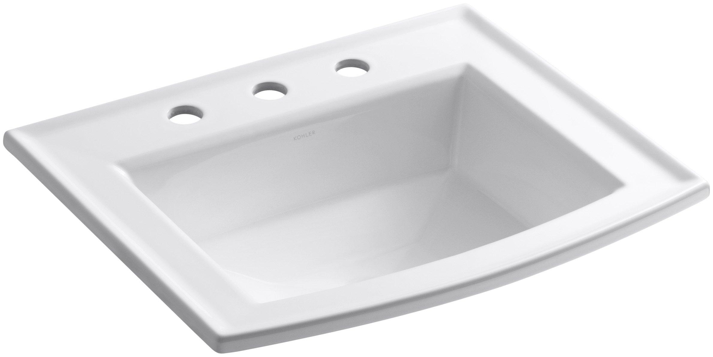 KOHLER K-2356-8-0 Archer Self-rimming Bathroom Sink with 8-Inch Centers, White by Kohler