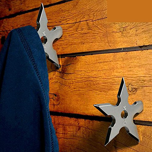 Star Coat Hook (Coat Hooks Ninja Throwing Darts Star Stainless Steel Creative Wall Door Hook Clothes Hats Hanger Holder Home Decoration 5 Pcs)