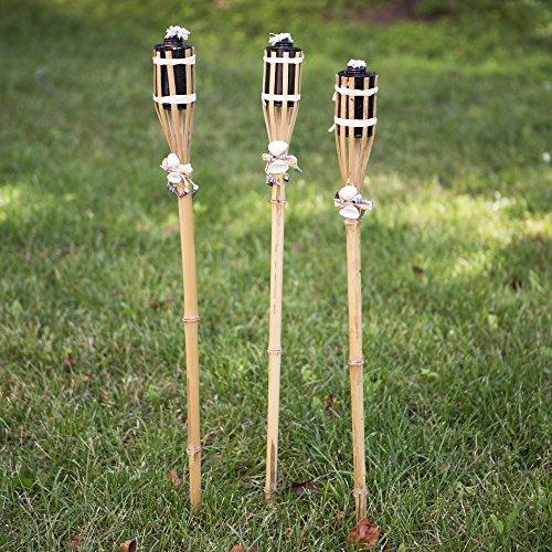 Bamboo & Seashell Tiki Torches