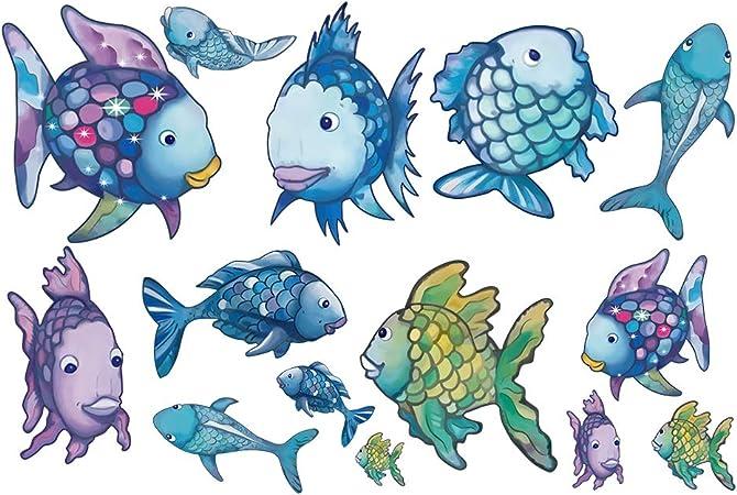 decalmile Arcoiris Pez Pegatinas Pared Oceano Desmontable Adhesivos Pared Decorativos para Baño Niños Infantiles Habitación: Amazon.es: Hogar