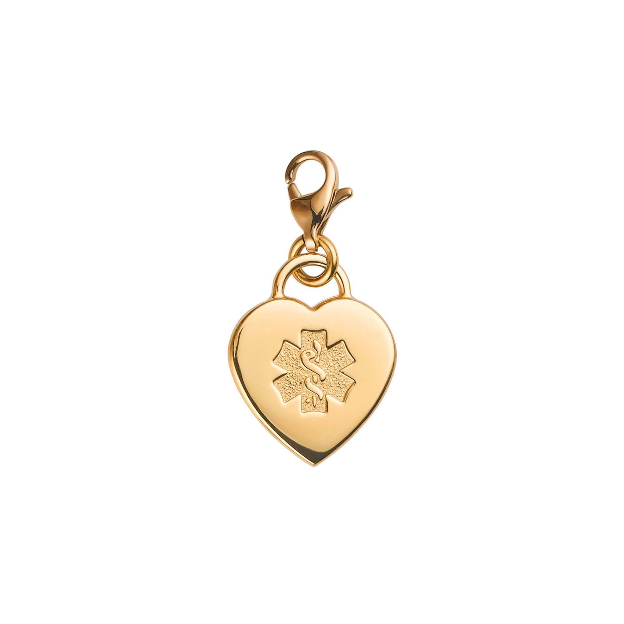 Divoti Custom Engraved Adorable Heart PVD 316L Medical Alert Charm w/ Lobster Clasp - Gold