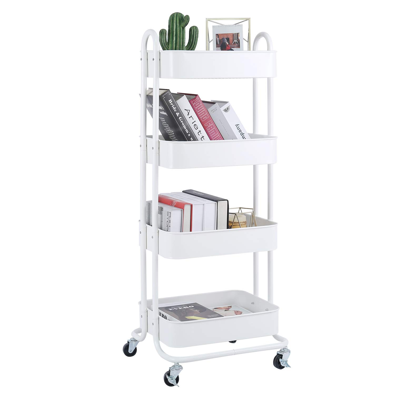 4-Tier Metal Mesh Utility Rolling Cart Storage Organizer Shelf Rack with Lockable Wheels for Living Room Kitchen Office, White