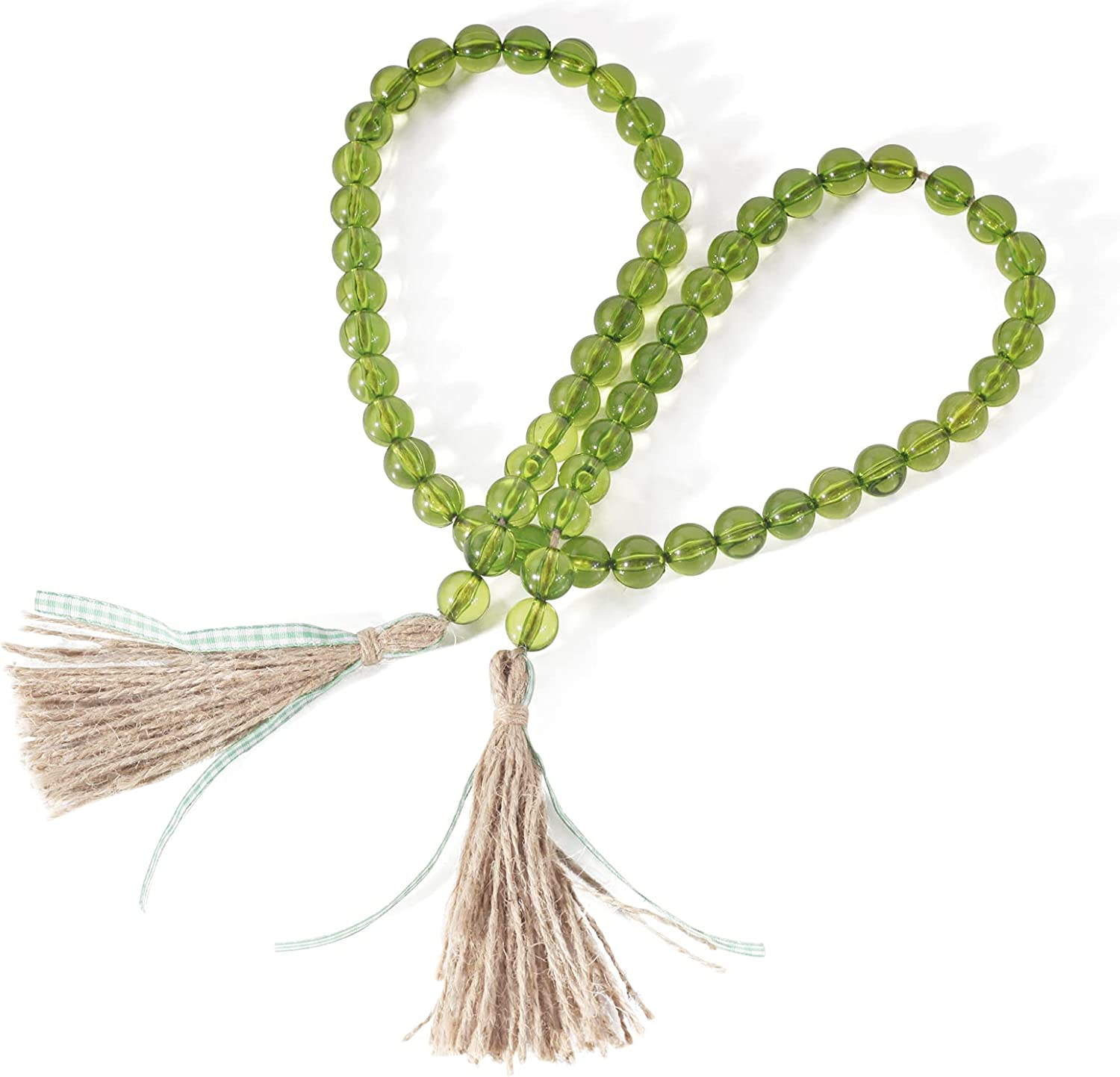 Panba Farmhouse Beads with Tassel Bead Garland Boho Wall Decor for Party Garland and Rustic Home, Tier Tray Coffee Table Decor Beads Handmade Easter Decoration Christmas Ornament (Green)