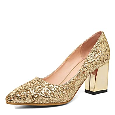 03ab5487ba6 Dress First Women s Pointed Toe Pumps Chunky Heel Shoes Closed Glitter Mid  Heel Wedding Pumps Gold