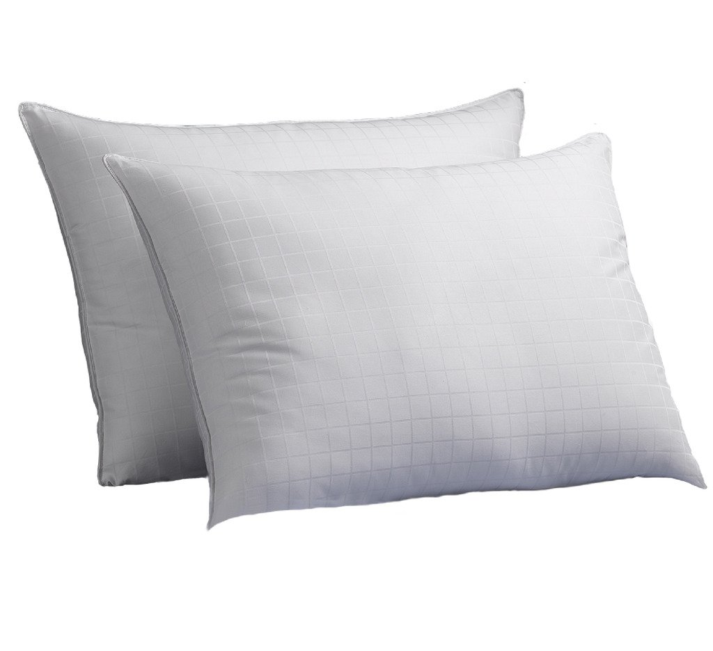 Exquisite Hotel Luxury Down-Alternative Gel-Fiber Filled-Hypoallergenic Pillows with a 100% Cotton Shell, Windowpane Pattern, and FIRM Density, 2-Pack, Standard Size