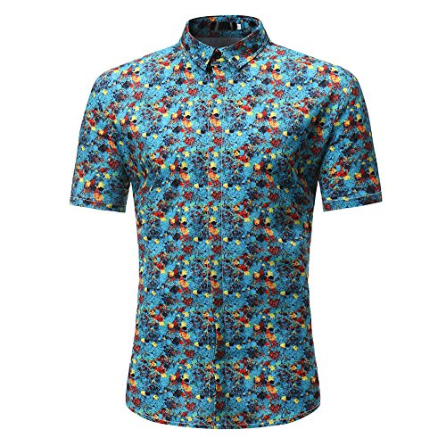 (OUBAO T Shirt for Men Short Sleeves Button Down Hawaiian Work Wear Shirts Tanks Slim Tops Bottom Blouse Slim (X-Large, Blue))