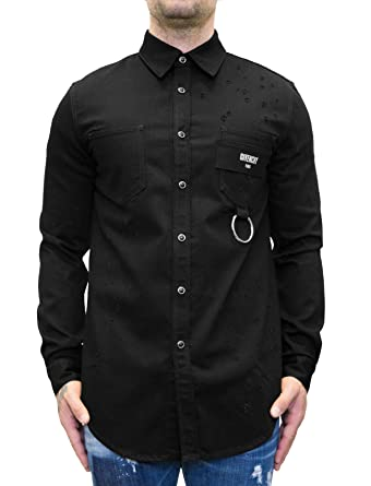14995f34 Givenchy Distressed Denim Shirt with Pocket Ring Detail (S) Black:  Amazon.co.uk: Clothing