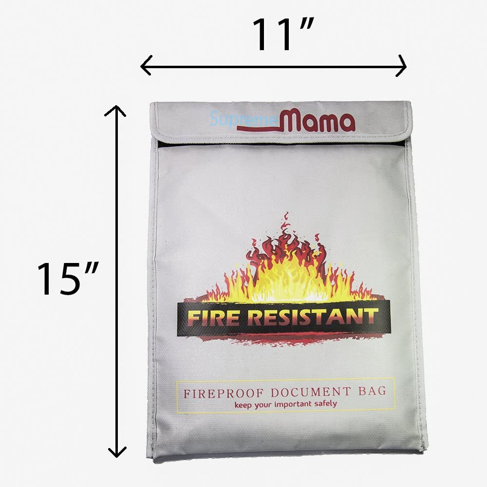 """Valuables With 2 Silica Gels SUPREMEMAMA Fireproof Document Bags Non-Itchy Documents Passport Fire/&Water Resistant Money Bag with Zipper 15x11/"""" Envelope Holder Fire Safe for Protecting Cash"""