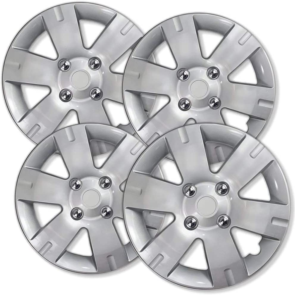 Amazon Com 15 Inch Hubcaps Best For 2007 2012 Nissan Sentra Set Of 4 Wheel Covers 15in Hub Caps Silver Rim Cover Car Accessories For 15 Inch Wheels Snap On Hubcap
