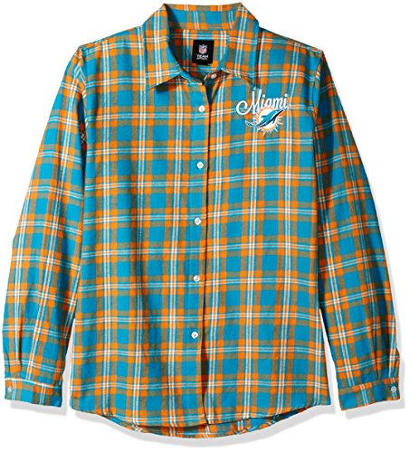 Miami Dolphins 2016 Wordmark Basic Flannel Shirt - Womens Extra Large by Forever Collectibles