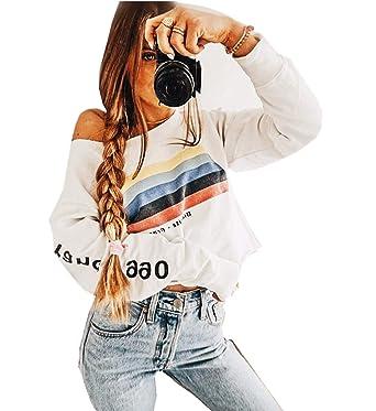 Señoras de Moda Casual Cartas de Personalidad Rayas de Arco Iris de Manga Larga Cuello Redondo Camisa Suelta suéter niñas riou: Amazon.es: Ropa y accesorios