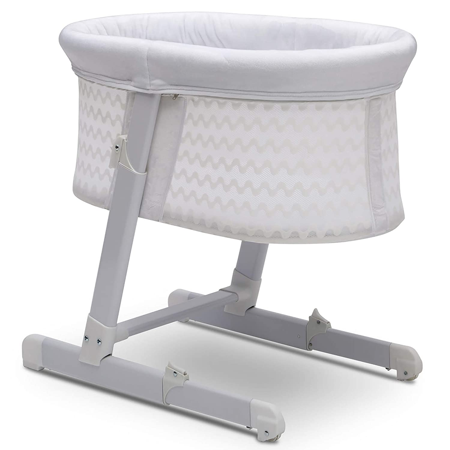 Simmons Kids Oval City Sleeper Bedside Bassinet - Adjustable Height Portable Crib with Wheels & Airflow Mesh, White Cap