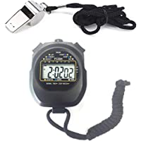Qiorange Sport Stopwatch Timer with Stainless Steel Whistle