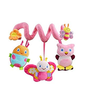 Amazon.com : Pink Crib Spiral Activity Toys Car Seat Pull Toy ...