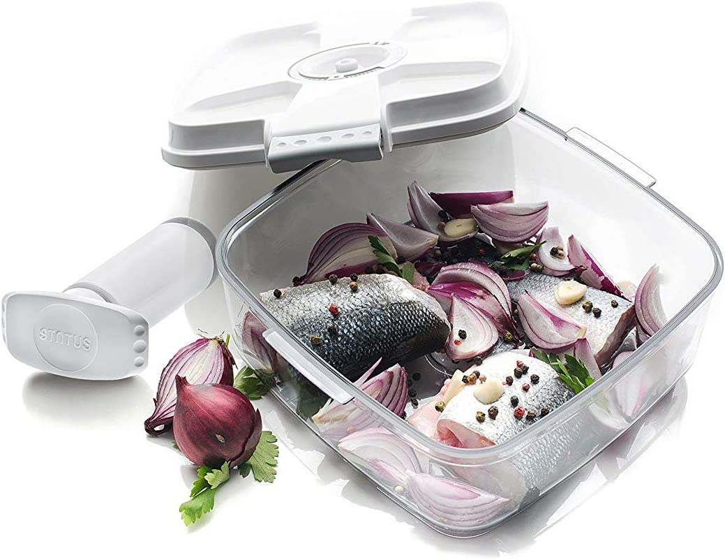 PrepSealer Vacuum Seal Marinating Container Set, marinates meats, fish, and vegetables quicker, removes air and locks freshness in