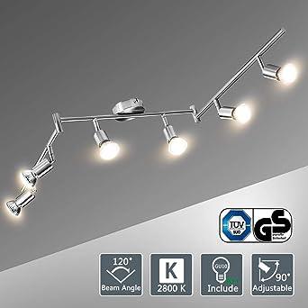 Lámparas de Techo LED 6 Focos Orientables, Bojim Luz de techo con Barra Giratables incl