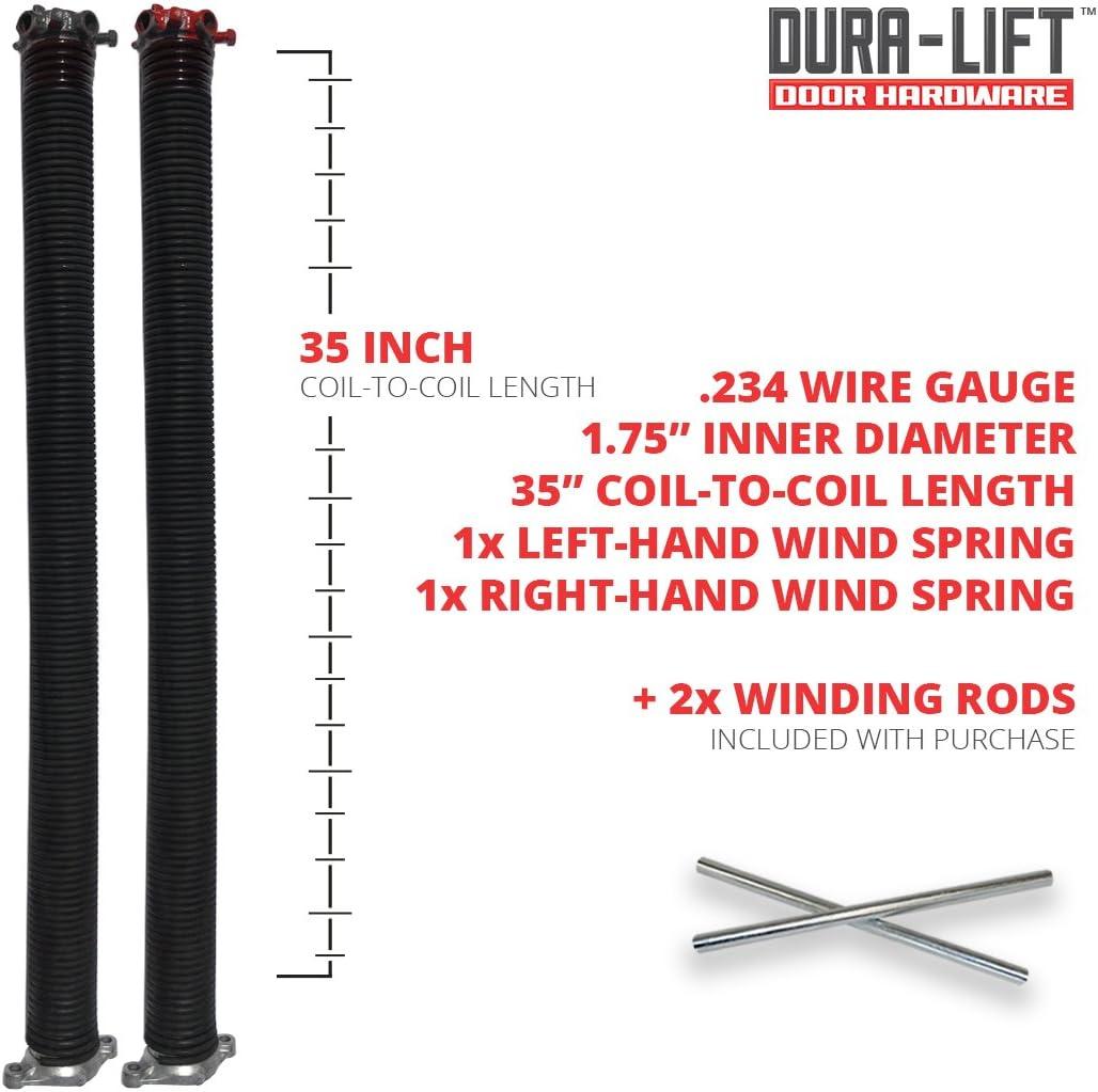 DURA-LIFT .234 x 1.75 x 35 Torsion Garage Door Spring Brown, Right Wound