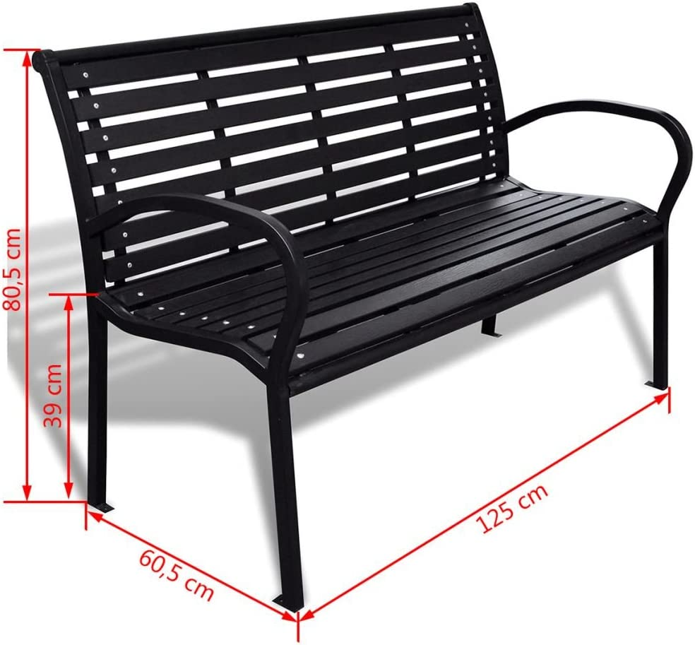 """Festnight 8-Seater Outdoor Patio Garden Bench Porch Chair Seat with Steel  Frame Solid Construction 8"""" x 8"""" x 82"""""""
