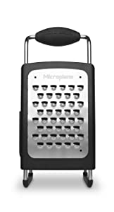 Microplane Box Grater Large 10 inch 4-Sided Stainless Steel Ultra-Sharp Multi-Purpose Grater - Black
