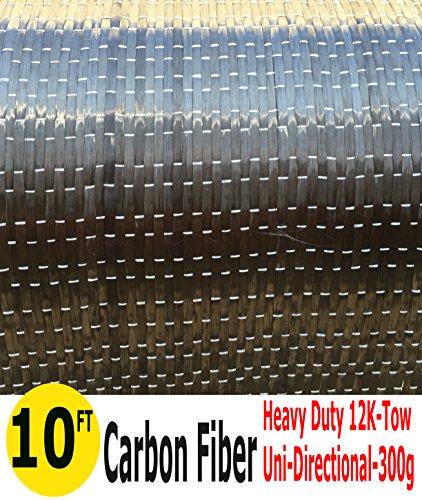 10-Ft CARBON FIBER FABRIC-UNI DIRECTIONAL-12K/300g (1 Meter Wide)